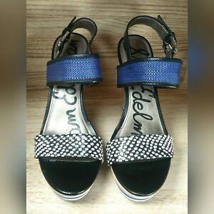 Sam-Edelman-Korinne-Platform-Wedge-Sandals-7-5-M-Women-Blue