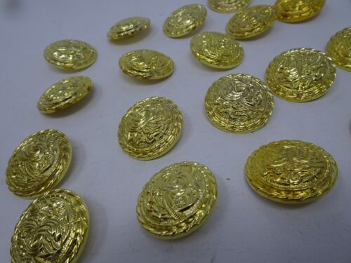 Vtg Gold Rounded Shank Buttons with Raised Floral Design 35mm Lot of 2 B95-6
