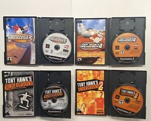 Playstation-2-Tony-Hawk-s-Pro-Skater-3-4-Underground-amp-Underground-2-Lot-PS2