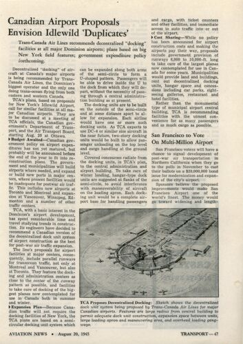 1945 Aviation Article Trans Canada Air New York Idlewild Airport Docking TCA