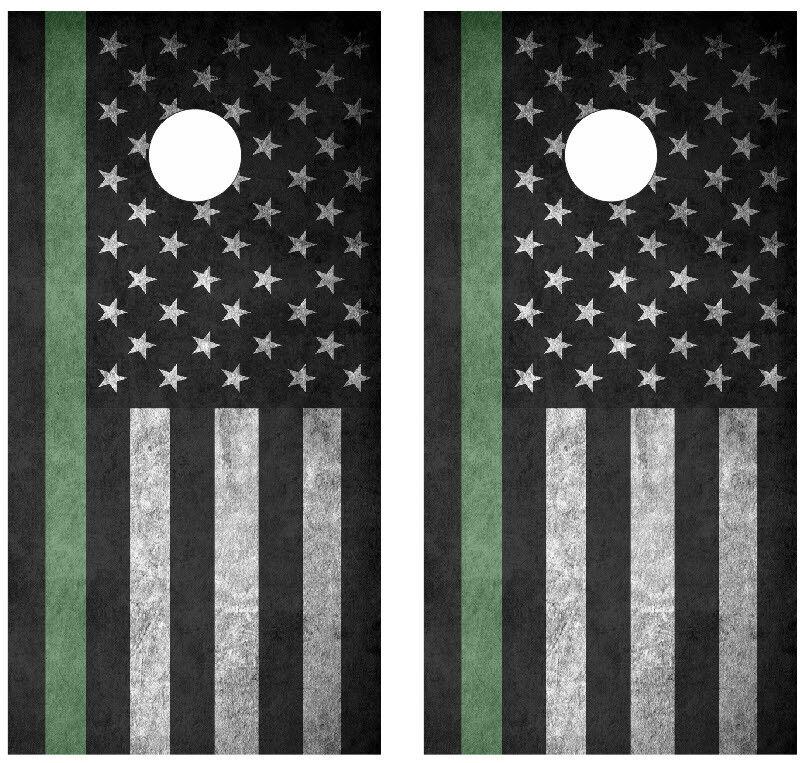 Thin Green Line Flag Cornhole Board Skin  Wrap Decal -LAMINATED  online store