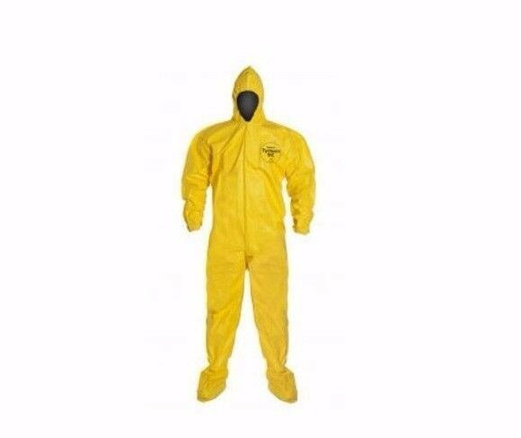 Dupont Tychem QC Tyvek QC122S Yellow Chemical Hazmat Suit Hood Boot 6XL 12/Case