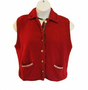 Woolrich Boiled Wool VEST Size XL CARDINAL RED Ribbon Trim Silvertone Buttons