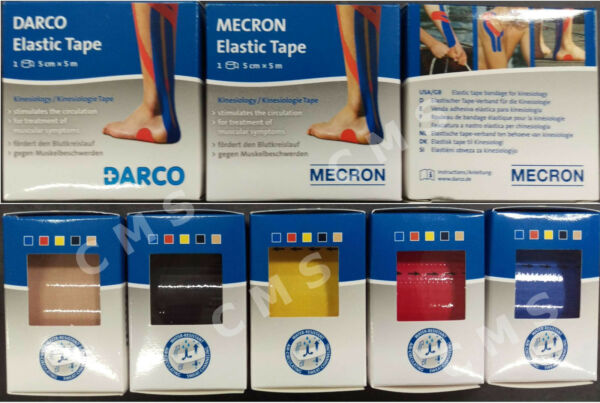 DARCO Kinesiology Elastic Sport Therapy Tape 2'x15ft 5cmX5m Blue Red Beige Black