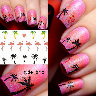 1 Sheet Coconut Tree Nail Art Water Decals flamingo design Transfers Stickers