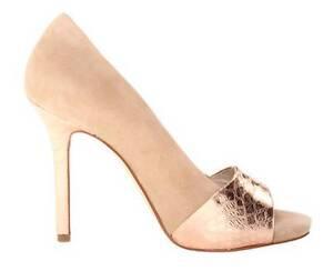 Women-039-s-Michael-Kors-LEIGHTON-PEEP-Open-Toe-Pumps-Heels-Suede-Nude-Rose-Metallic