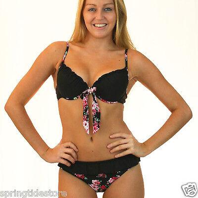 Vintage Black + Floral Bikini  Sexy Push Up Padded Bra  Sizes 8 10 12 14 16