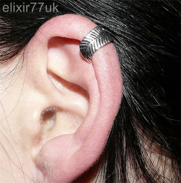 NEW SILVER CURVED LEAF EAR CUFF HELIX CARTILAGE CLIP-ON EARRING PUNK GOTHIC EMO
