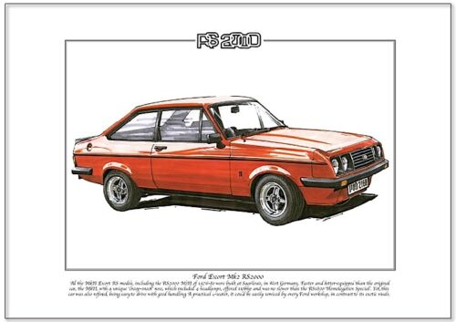 Fine Art Print FORD ESCORT Mk2 RS2000 A4 size Fast Performance Saloon Car