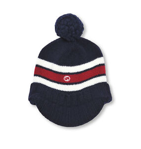 NWT NEW Gucci kids boys navy or gray wool knit hat ear flaps red web ... 472944003d8