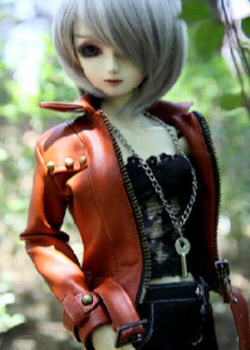 Uncle 1//3 SD16 1//4 BJD Clothes Leather Coat Rivet Deco Brown//Black AOD LUTS SOOM