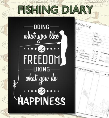 pêche journal C5 pêche diary pêcheurs log book A5 journal de pêche livre