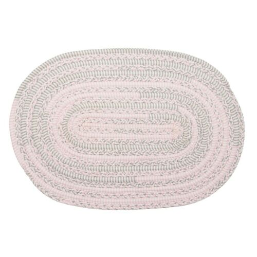 Bella Nursery Soft Chenille Pink Grey Oval Braided Childrens Rugs