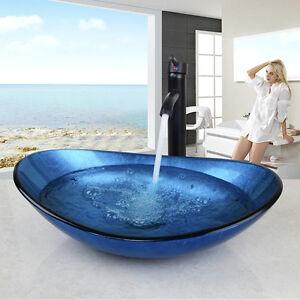 Badkeramik De.De Glas Waschbecken Aufsatzwaschbecken Waschtisch Oval Waschschale
