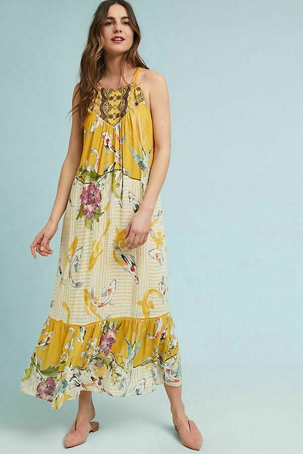 NWOT Antropologi En September Paradiso gul MAXI LNG DRESS Medium M ny