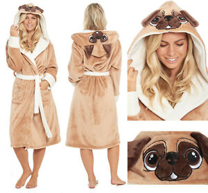 e2c667cbd8 Image is loading Pug-Dog-Dressing-Gown-Fleece-Ladies-Womens-Hooded-