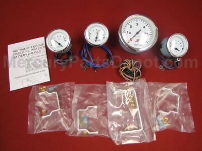 temp trim hours volts Mercury Inboard Analog Gauge Set White//Chrome Speedo