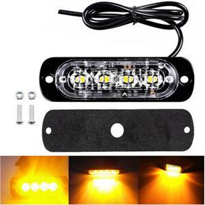 1x-DC12V-24V-Amber-4LED-Bar-Car-Truck-Strobe-Flash-Emergency-Warning-Light-Lamp