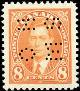 1937-Mint-H-Canada-VF-Scott-O236-8c-Perforated-KGVI-Issue-Stamp
