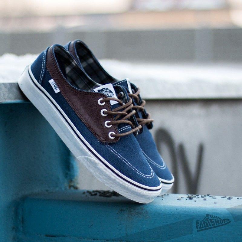 Vans Brigata Leather Plaid Esttebl Pttngsl shoes Mens Size 6.5 Brown Navy bluee