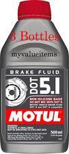 3 Motul DOT 5.1 High Performance Brake Fluid - 100% Synthetic - 500 ml Ea. - NEW