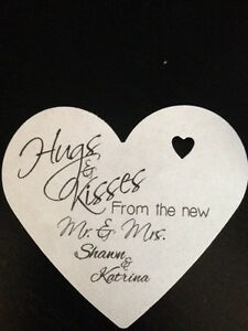 Image Is Loading PERSONALIZED Heart Shape Wedding Favor Gift Tags Hugs