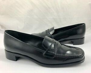 PRADA-Women-039-s-Size-6-36-Patent-Leather-Slip-On-Penny-Loafers-Black-Reg-495