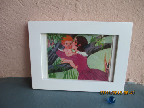 vintage framed illustration of mother and fairy baby 1946