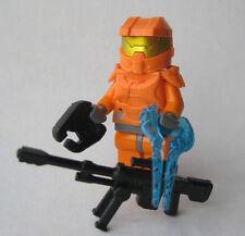 Lego Custom HALO MASTER CHIEF Spartan Minifigure -ORANGE- Sniper, Sword, Pistol