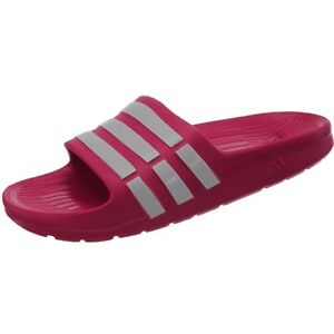 ce19cae6e0f7 Details about Adidas Duramo Slide K girl s pool sandals pink white shower  sandals slides NEW