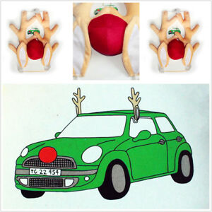 Set Vehicle Car DIY Christmas Decoration Cute Funny Reindeer Red Nose Antlers