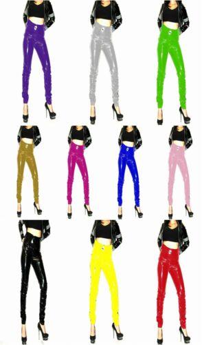 Pvc pantalon taille haute jeans fit noir rouge blanc taille 26-30 uk neuf avec étiquettes