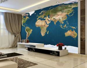 Visible Earth World Map Full Wall Mural Photo Wallpaper Print Vinyl 3d Decal Ebay