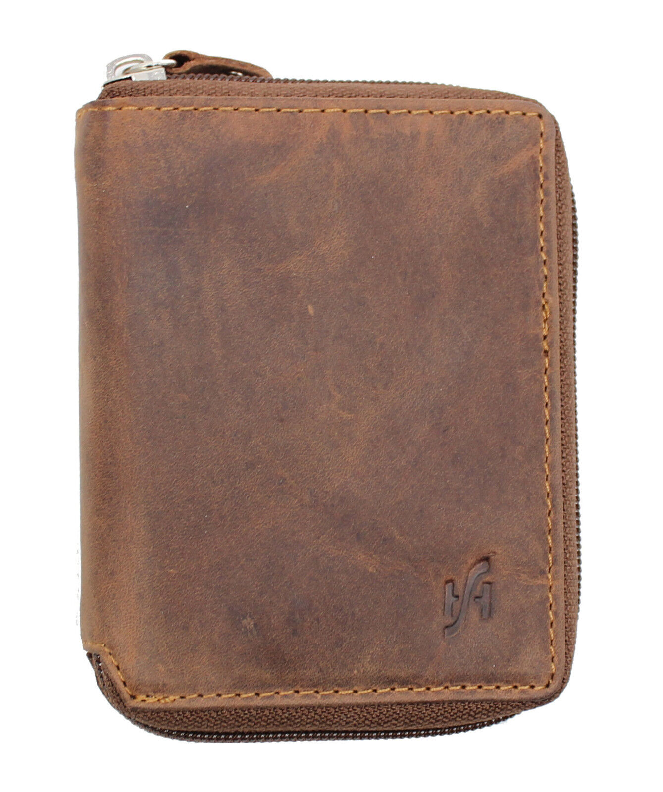Full Zip Around Distressed Hunter Leather Wallet Brown