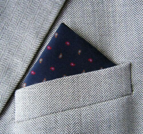 SUPERNOVA SCARVES Navy Paisley Silk Pocket Square Handkerchief Mod Indie Suit