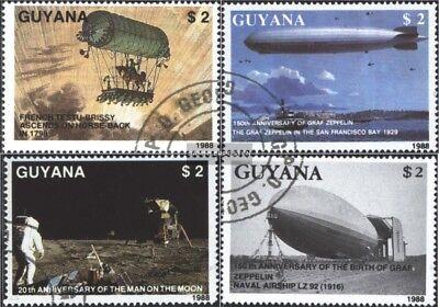 Mondlandung Durchsichtig In Sicht Gestempelt 1989 Zeppelin 1 kompl.ausg. Guyana 2485-2488