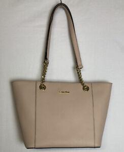 Calvin Klein Women's Hayden Saffiano East/West Top Zip Chain Tote Blush Pink