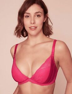8add7c476e MARKS SPENCER M S ROSIE AUTOGRAPH SILK LACE PADDED PLUNGE PINK BRA ...