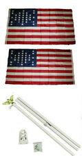 3x5 Fort Sumter SC 33 Star 2ply Flag White Pole Kit Set 3'x5'
