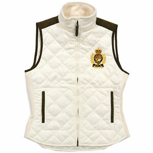 Ralph-Lauren-Bomber-Suede-Equestrian-Crest-Quilted-Puffer-Vest-Jacket-S-M-L-XL