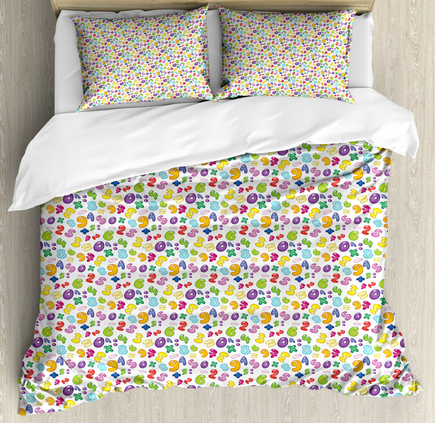 Numbers Duvet Cover Set with Pillow Shams colorful Bubble Style Print