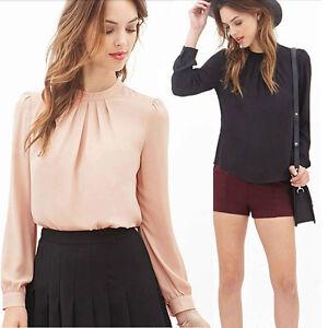 Long Women Sleeve Fold Summer Shirt Loose Blouse Casual Chiffon Tops xXvXSZqw