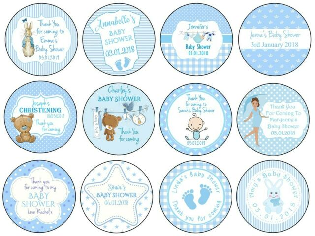 BLUE ELEPHANT  PERSONALISED GLOSS PARTY  BAG BOX FAVOUR STICKERS BABY SHOWER