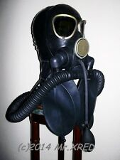 FETISH Heavy Rubber GAS MASK Latex HOOD+GAG w PUMP+2 Rebreather BAGS+Twin HOSES