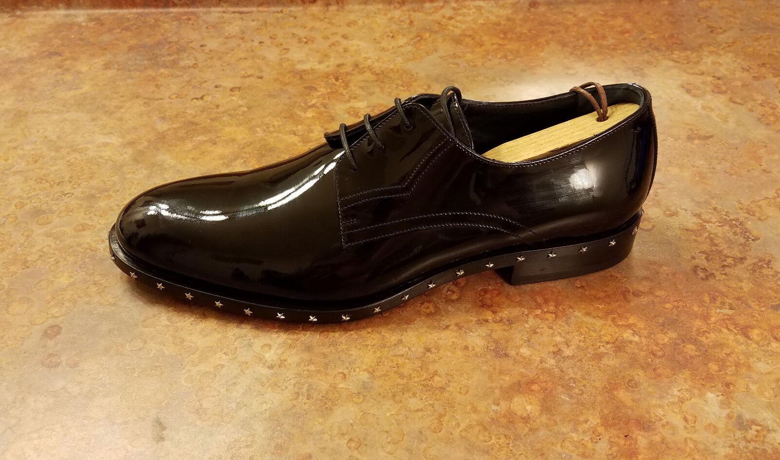 NOUVEAU  Jimmy Choo  Star de clous  Plain Toe Derby Noir Homme 8 us 41 eur. fabricants Standard prix de détail  895