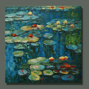 CHOP1473 100% hand painted girl lotus flowers in pond oil painting art on canvas