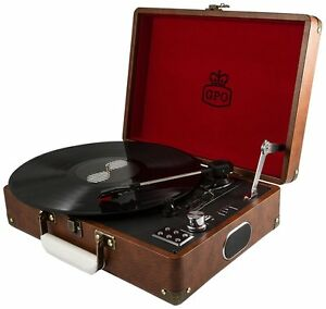 Brown-GPO-Attache-Case-Record-Player-Turntable-with-Free-USB-Stick