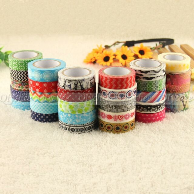 1X New Design Flowers Sticky Adhesive Sticker Decor Washi Tape DIY Stationery