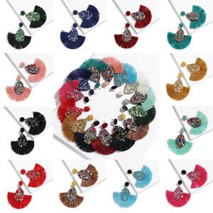 Women-039-s-Ethnic-Bohemia-Drop-Earring-Biscuits-Round-Resin-Tassel-Earrings-Jewelry