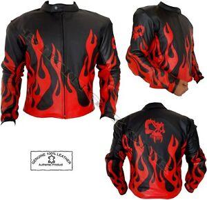 Rojo Moto amp; Chaqueta Fuego Cuero Estilo Skelet De Hombre Negro Llama ZwE4E
